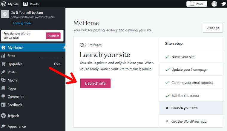 Launch Your WordPress.com Blog Site