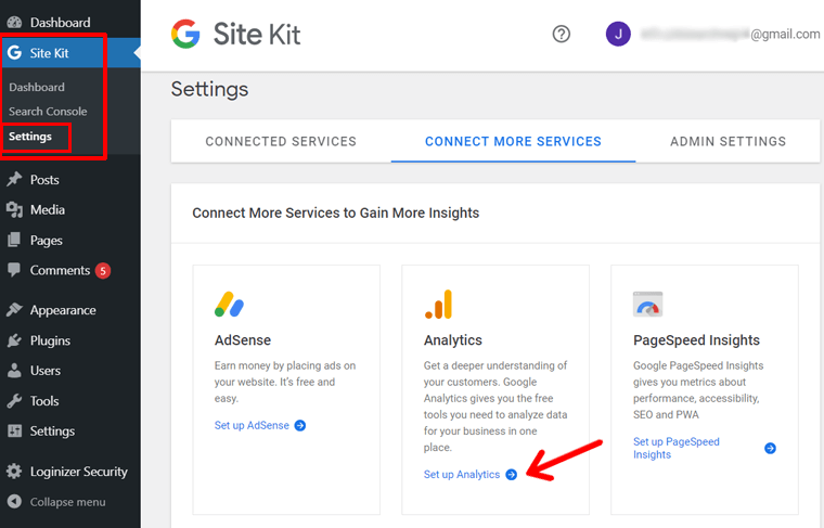 Set Up Google Analytics Option in Site Kit Plugin
