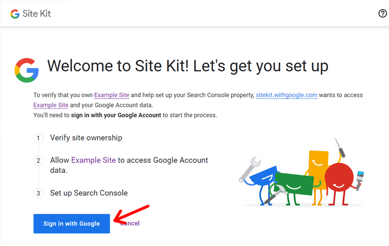 Sign In With Google Account to Set Up Site Kit