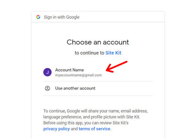 Sign in With Google to Set Up Analytics using Site Kit