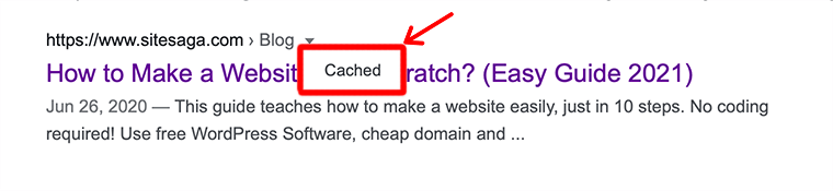 Google Cached Option