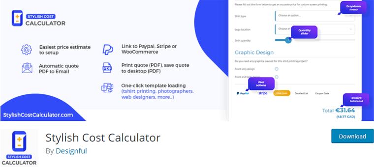 Stylish Cost Calculator- best WordPress Calculator plugin