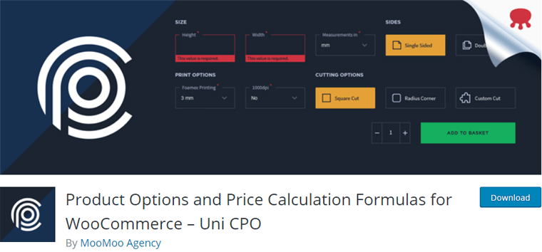 Uni CPO- Product Options and Price Calculation Formulas for WooCommerce