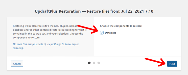 Choose Components to Restore (with UpdraftPlus)