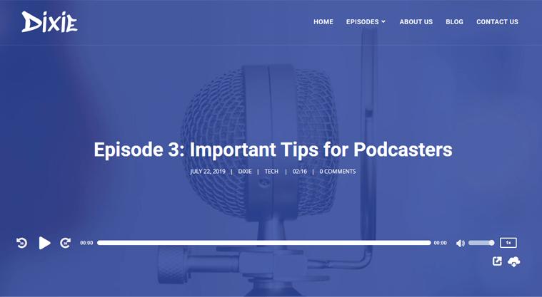 Dixie Best Podcast WordPress Themes & Templates