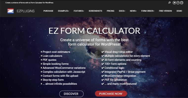 ez Form Calculator- price calculator WordPress plugin