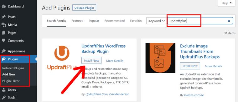 Install Now UpdraftPlus WordPress Plugin