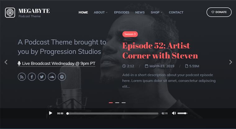 Megabyte Best Podcast WordPress Themes & Templates