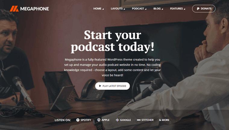 Megaphone Best Podcast WordPress Themes & Templates