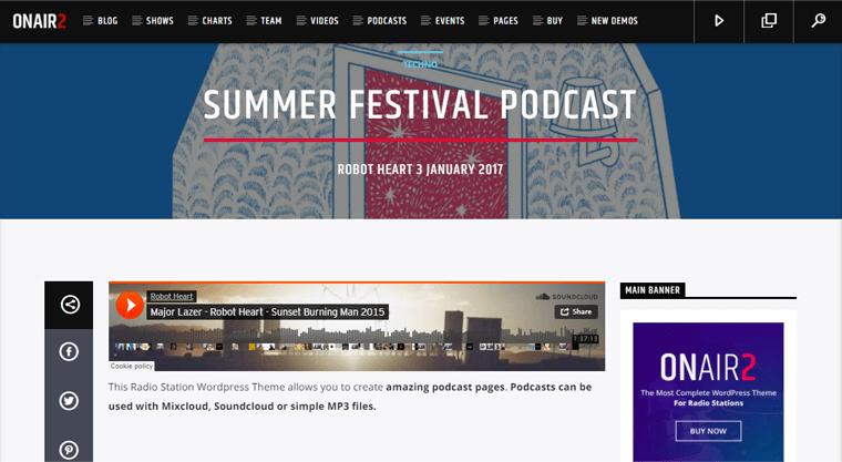 Onair2 Best Podcast WordPress Themes & Templates