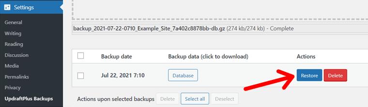 Restore Button to Start Restoration of Deleted Posts in WordPress