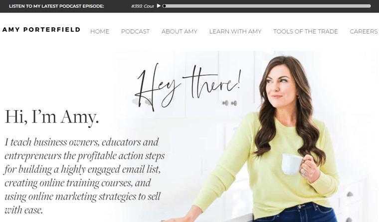 Amy-potterfield-Website beautiful personal websites