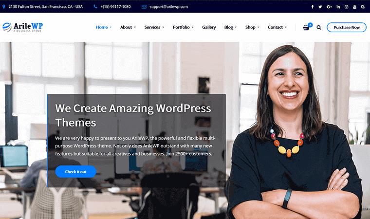 ArileWPTheme financial services wordPress theme