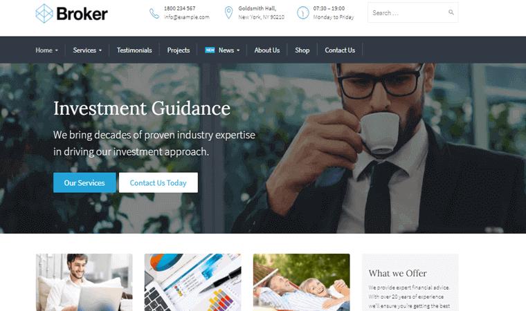 BrokerTheme financial website WordPress theme