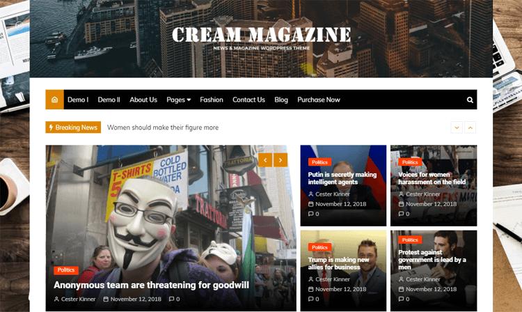 Cream Magazine best online magazine templates