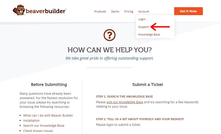 Customer support of Beaver Builder