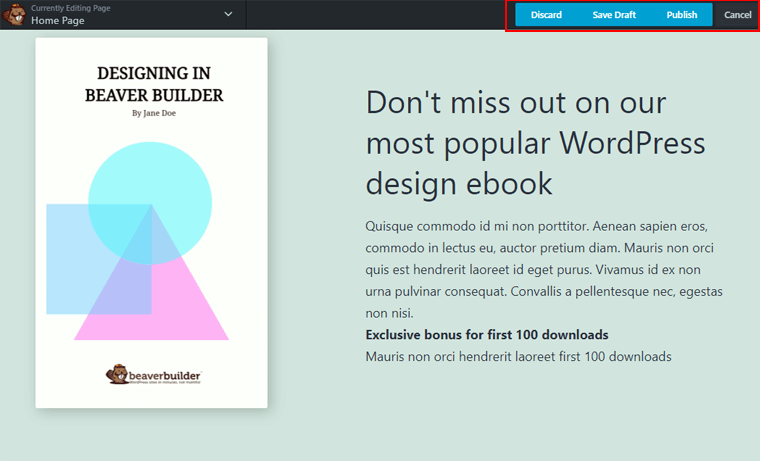 Beaver Builder Review-Done Button Options