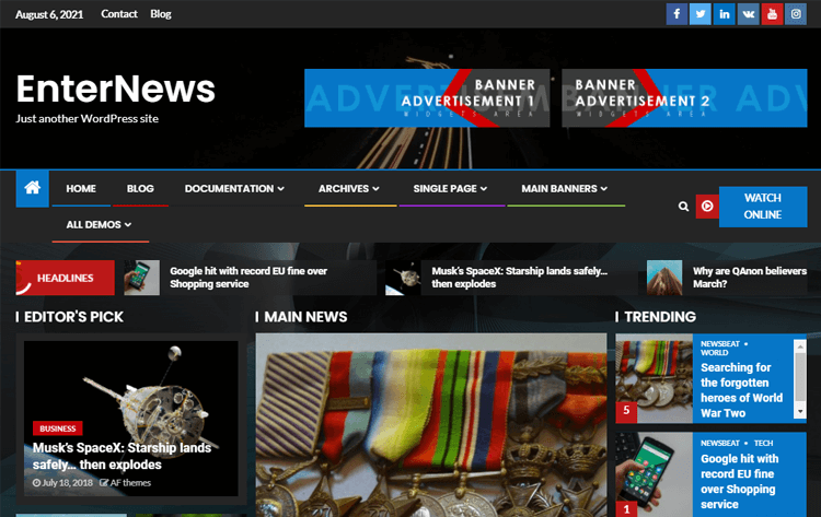 EnterNews WordPress Online News Theme