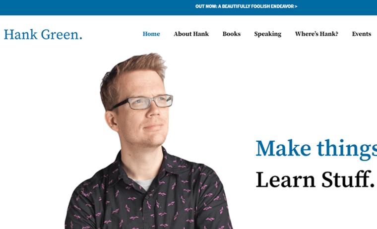Hank-Green-Website personal resume websites