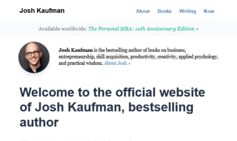 Josh-Kaufman-personal-Website