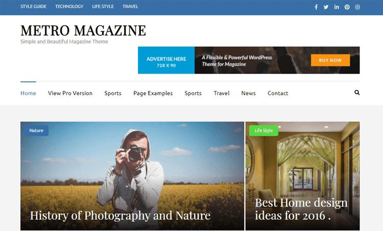 Metro Magazine WordPress themes for news magazine
