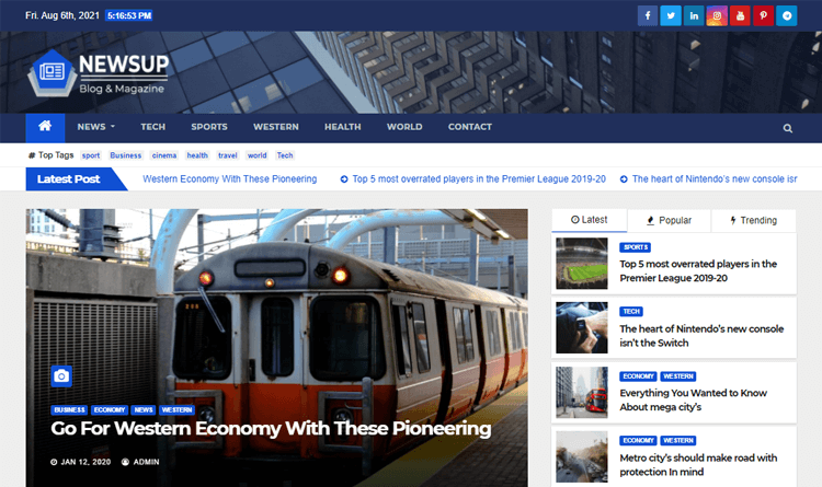 Newsup responsive WordPress news theme
