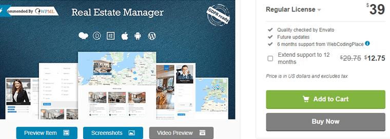 WordPress real estate manager