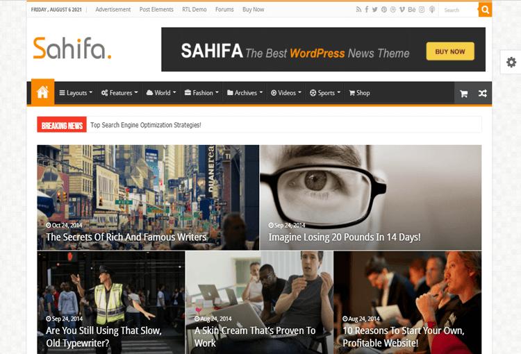 Sahifa magazine basic WordPress theme