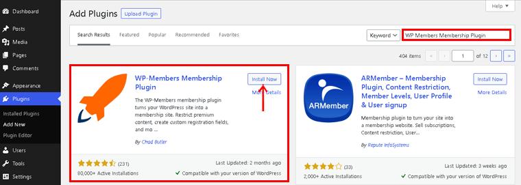 Selecting WPMembers Membership Plugin
