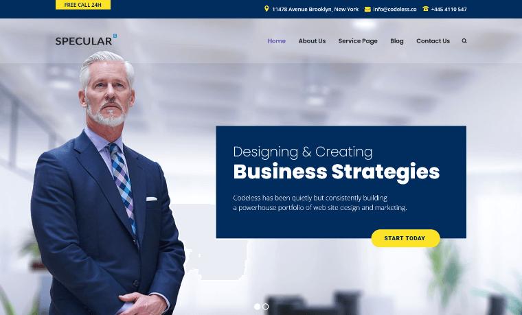 SpecularTheme WordPress financial advisor theme