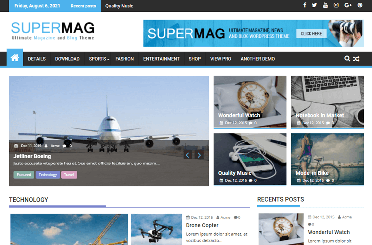 SuperMag  best magazine WordPress themes