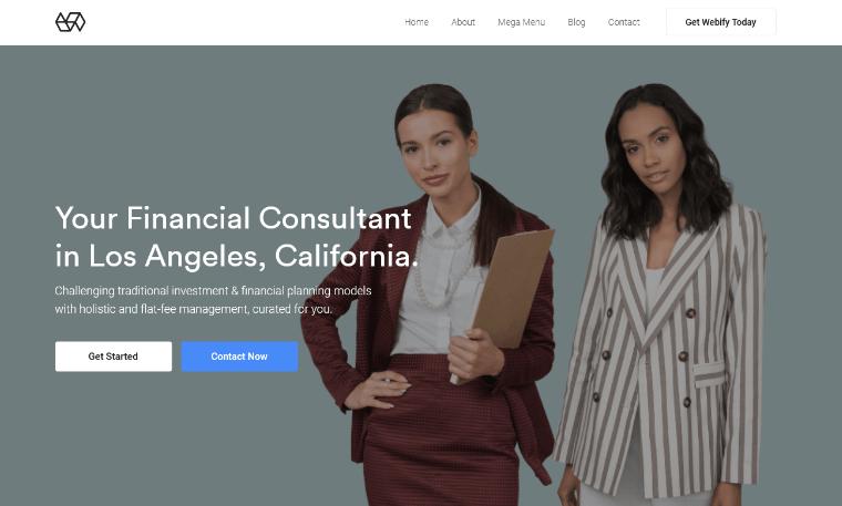 WebifyTheme WordPress financial theme