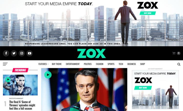 Zox News WordPress magazine layout