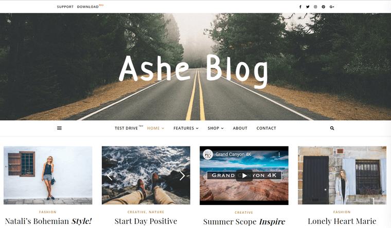 Ashe WordPress Theme for Personal Blog Website