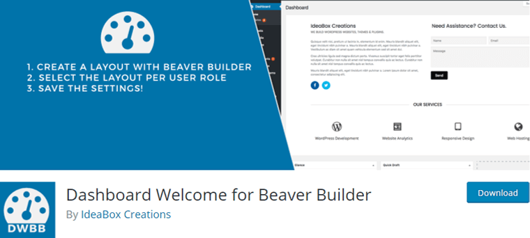 Dashboard Welcome for Beaver Builder