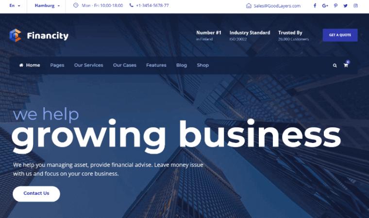 FinancityTheme Financial services WordPress theme
