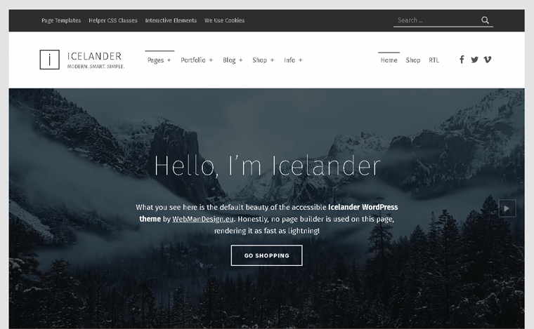 Icelander Premium WordPress Theme