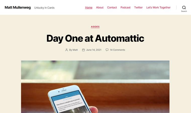 Matt Mullenweg's Personal Website Example