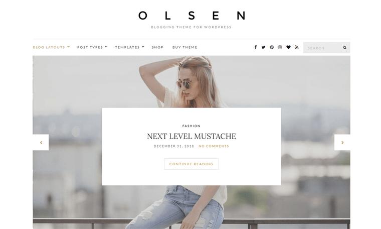 Olsen WordPress Theme for Personal Blog Website