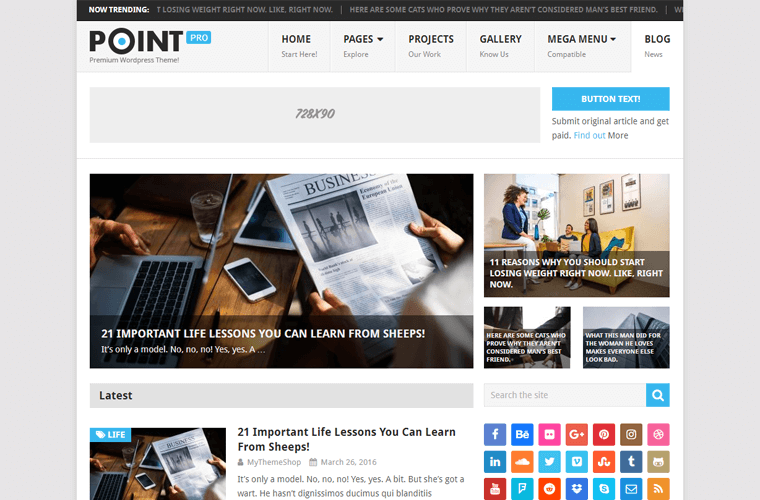 Point WordPress Theme for Personal Blog Site