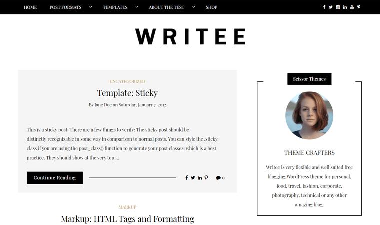 Writee Typography WordPress Theme