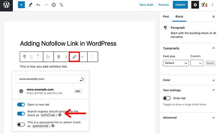 Add Nofollow Link