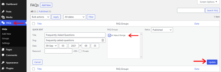 Assign FAQ to Group