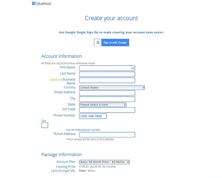 Create Your Bluehost Account