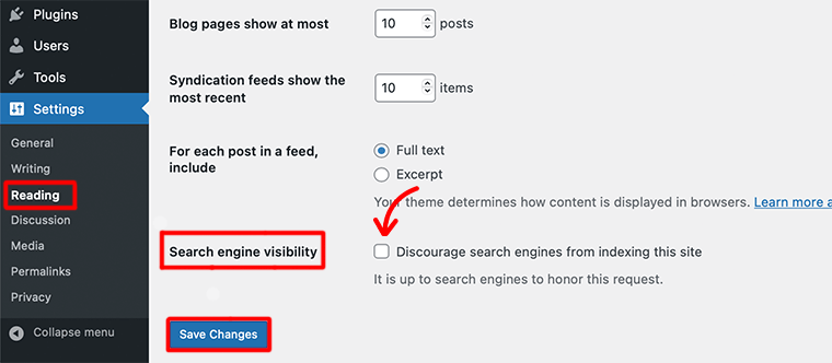 Search Engine Visibility Option