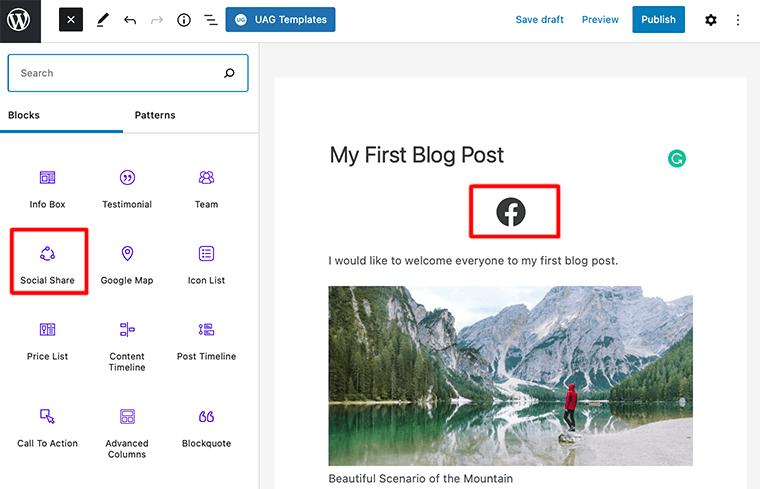 Select Social Share Block