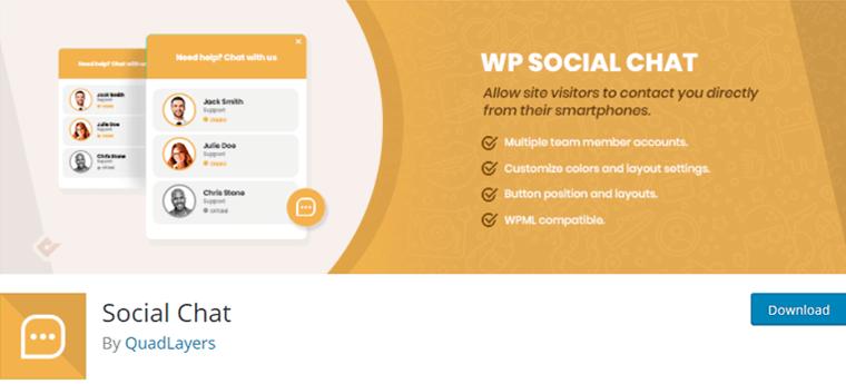 Social Chat Free WP Plugin