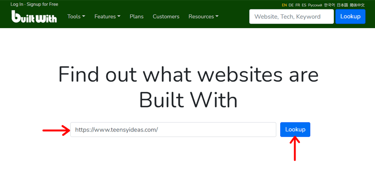 BuiltWith - Check If a Website Uses WordPress
