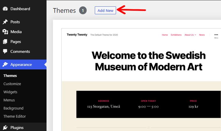 Adding New Theme in WordPress Dashboard