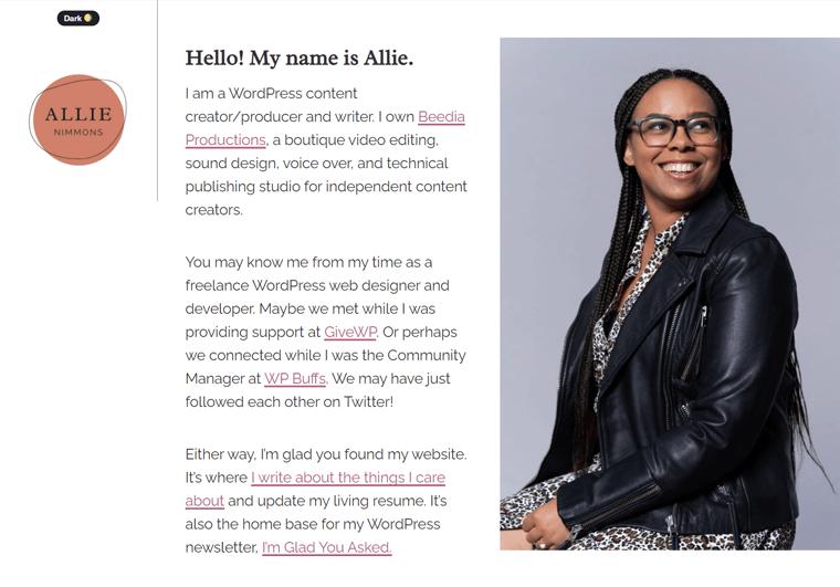 Allie Nimmons-WordPress website examples